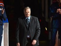 After being hit by a car and stabbed last Saturday night while on duty, EPS Const. Mike Chernyk walks out on the red carpet at the Edmonton Oilers vs Calgary Flames season opener during NHL action at Rogers Place in Edmonton, October 4, 2017. Ed Kaiser/Postmedia
