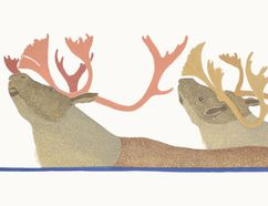 Soper River Crossing by Tim Pitsiulak is among the offerings at the annual Cape Dorset Print Collection at Strand Fine Art Services, 1161 Florence St., Unit 4. The opening reception is 5 p.m. Friday and the show continues until Nov. 4.