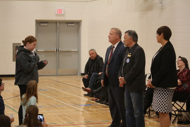 Students from Airdrie's Holise Lorimer and Meadowbrook got to listen to Airdrie's Mayoral, Council and Trustee candidates on Wed., Oct. 11, 2017.