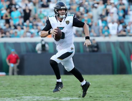 Blake Bortles of the Jacksonville Jaguars runs with the football in the second half of their game against the Los Angeles Rams at EverBank Field on Oct. 15, 2017. (Sam Greenwood/Getty Images)