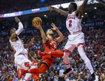Toronto Raptors' Fred VanVleet during NBA action against the Chicago Bulls Jerian Grant (right) at the Air Canada Centre in Toronto on Oct. 19, 2017. (Ernest Doroszuk/Toronto Sun/Postmedia Network)