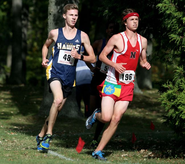 Andrew Davies, right, of Northern leads Cam Ross of Chatham-Kent during the senior boys' six-km race at the LKSSAA cross-country championship at Canatara Park in Sarnia, Ont., on Thursday, Oct. 19, 2017. Davies won in 20:38 and Ross placed second in 21:22. (Mark Malone/Chatham Daily News)