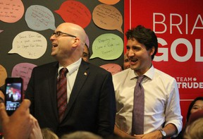 Prime Minister Justin Trudeau joins Liberal byelection candidate, Brian Gold, at a rally in Spruce Grove on Oct. 20.