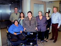 Sean Chase/Daily Observer The Petawawa Civic Centre recently received $23,700 from the Ontario 150 Community Capital Program for upgrades to its aging elevator. Joining staff and council for the official unveiling of the new elevator were members of the Petawawa Accessibility Advisory Committee. In the photo are (left to right) committee member Jackie Nieman, Town of Petawawa facilities manager Mark Reinert, Councillor Theresa Sabourin, committee chairwoman Shiela Clarke, committee member Sharon Slaney, Nikki Berry, representing Renfrew-Nipissing-Pembroke MPP John Yakabuski, and Town of Petawawa parks and recreation manager Kelly Williams.