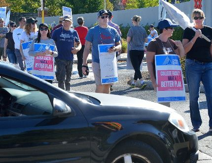 Fanshawe College faculty on the picket line at Fanshawe College in London, Ontario on Friday October 20, 2017. (MORRIS LAMONT, The London Free Press)