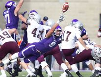 Western Mustang Myles Manalo almost blocks a field goal kick by Lewis Ward of the Ottawa Gee Gees at TD Stadium in London, Ont. on Saturday October 21, 2017. The Mustangs won the game 63-10. (DEREK RUTTAN, The London Free Press)