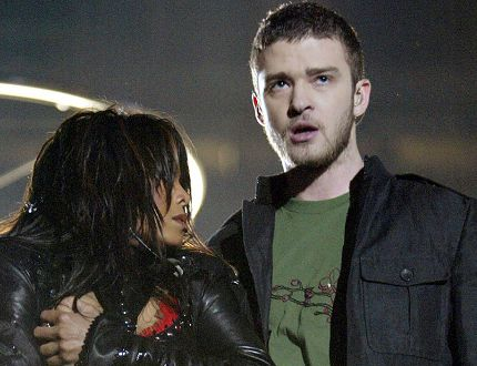 Singers Janet Jackson and surprise guest Justin Timberlake perform during the halftime show at Super Bowl XXXVIII between the New England Patriots and the Carolina Panthers at Reliant Stadium on Feb. 1, 2004 in Houston, Texas. At the end of the performance, Timberlake tore away a piece of Jackson's outfit. (Photo by Frank Micelotta/Getty Images)