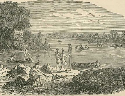 """This image,from Peoples of the World, by Robert Brown, published in 1890, depicts """"Chippeway Indians"""" fishing at """"Sault de St. Mary's,"""" Lake Superior."""