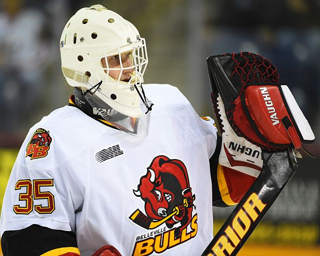 Former Belleville Bulls backstop Connor Hicks, 20, has joined the OJHL's Trenton Golden Hawks. (Aaron Bell/OHL Images)