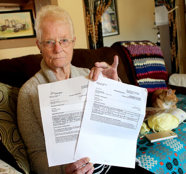 Pat Robinson is upset that the monthly cost of having her 75-year-old husband Jim stay at Riverview Gardens long-term care home has jumped nearly $400 a month. She is pictured in her Dresden, Ont. on Wednesday October 18, 2017, displaying the notice she received about the hike in the monthly rate. (Ellwood Shreve/Chatham Daily News)