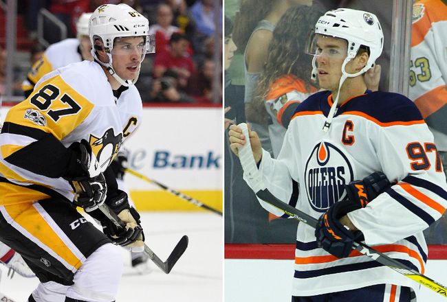 Pittsburgh Penguins center Sidney Crosby and Edmonton Oilers' Connor McDavid.