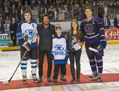 Submitted photo From left, Commerce team captain Austin Walker, Paul Langlois of The Tragically Hip, brain cancer patient Tyler McDonald, Cure Cancer Classic co-chair Katarina Ignjatic, and Engineering team captain Fred Scott at the puck drop ceremony at the Cure Cancer Classic game in January at the Rogers K-Rock Centre. The January game and a November tournament are fundraisers for the Gord Downie Fund for Brain Cancer Research.