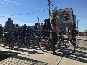 Local cyclists, led by London Cycle Link chair Daniel Hall, get set to take off on a bike ride as part of the Southwest Bike Advocacy Summit on Sunday, Oct. 22 in London. (MEGAN STACEY, The London Free Press)