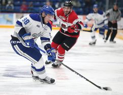 Sudbury Wolves forward Dmitry Sokolov handles the puck during OHL action against the Ottawa 67's at the Sudbury Community Arena in Sudbury, Ont. on Friday October 13, 2017. Sokolov scored a hat trick in the game.Gino Donato/Sudbury Star/Postmedia Network