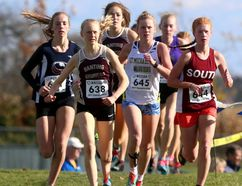 Tori Bouck of Banting and Zoe Burke of South lead an opening lap pack that includes eventual winner Rebecca DeKay of Banting (at rear) and Elizabeth Drake of St. Mikes during the senior girls WOSSAA cross-country race at St. Annes Catholic High School in Clinton on Thursday October 26, 2017. Burke, whose younger brother Evan won the senior boys, placed second behind DeKay, while Bouck finished third. (MIKE HENSEN, The London Free Press)