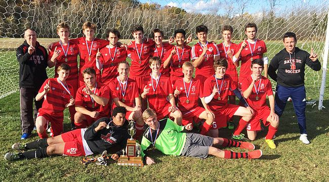 Bayside Devils celebrate their Bay of Quinte senior boys soccer title Thursday at Devils Field. (Submitted photo)