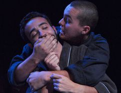 """Photo courtesy of Tim Fort Max (Cole Roe) embraces Rudy (Ben Sterlin) in """"Bent,"""" now playing at the Baby Grand."""