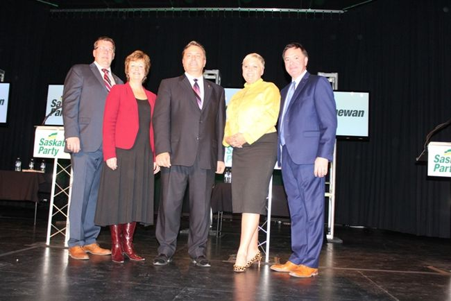 (L to R) Scott Moe, Alanna Koch, Ken Cheveldayoff, Tina Beaudry-Mellor and Scott Moe debated a number of topics at the Saskatchewan Party leadership debate at the CJVR Performing Arts Theatre on Thursday, October 26.