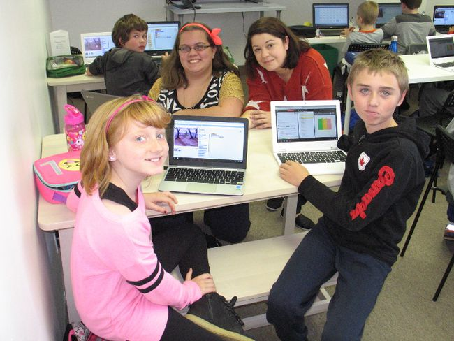 <p>A Code Heroes PD Tech Day participants included, from left, Faith Eamer, Cody MacLeod (in background), Brianna Malette, Kelly Bergeron (Code Heroes founder) and Gareth Davies. The camp was held Friday, October 27, 2017, in Cornwall, Ont. </p><p>