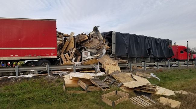Two transport trucks and a dump truck collided on Highway 401 near Cambridge on Friday. One driver, Adual Waheed of Ajax, was killed. (Supplied)