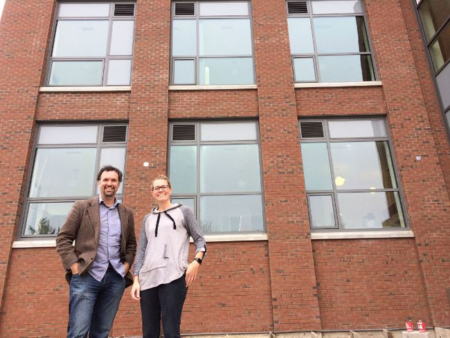 Natasha Thuemler and Graham Cubitt, of Indwell. show off 26 new affordable housing units set to open in the old Harvey Woods building in a couple week. (HEATHER RIVERS/SENTINEL-REVIEW)