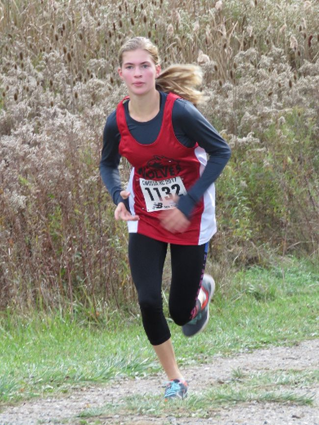 Waterford's Makinley Boudreault competes at the Central Western Ontario Secondary School's Association cross country meet in Waterloo Oct. 26. The Grade 9 student will move on to the OFSAA Cross Country Championships in Petawawa this weekend. Contributed Photo