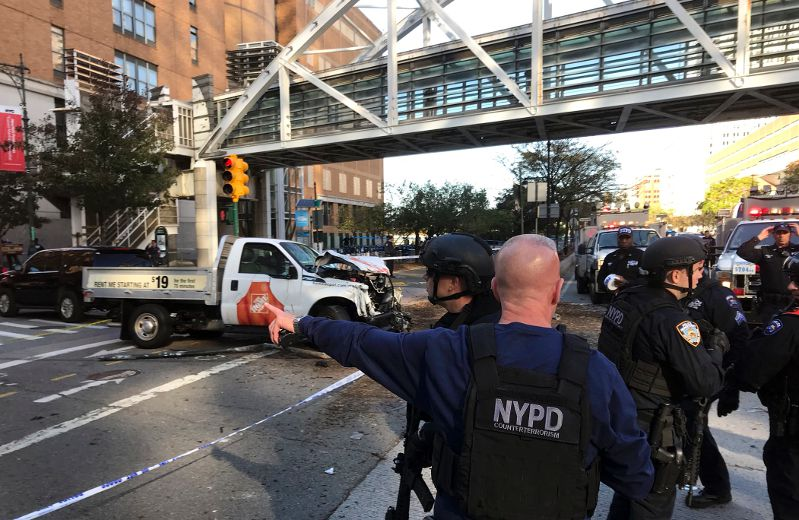 Truck drives onto busy New York City bike path near World Trade Center, multiple casualties reported