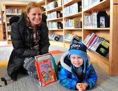 Delhi's Ashley Stillmack and her son Callen (2) enjoy some time at the new-look Norfolk County Public Library Delhi Branch on Tuesday. After months of anticipation, the $1.7 million update was unveiled to the public with an official grand opening expected in the coming weeks. JACOB ROBINSON/Simcoe Reformer
