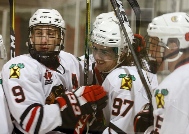 Tyson Kirkby (97) is all smiles after scoring his first goal as a member of the Brockville Braves and he did it in his old arena in Kemptville. (Jonathon Brodie/The Recorder and Times)