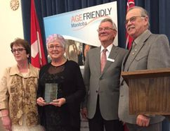 Left, Eileen Clarke, minister of Northern Relations, award winner June Letkeman, Dave Schellenberg, chair of Manitoba Council on Aging, and Emerson MLA Cliff Graydon.