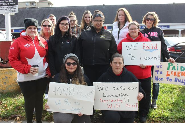 <p>St. Lawrence College students rally in front of MPP Jim McDonell's office on Wednesday November 1, 2017 in Cornwall, Ont. The students are getting worried about their education.</p><p>