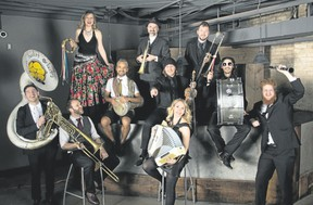 Toronto?s Lemon Bucket Orkestra, a pastiche of a dozen multi-instrumentalists, says it?s goal is to ?pass our own exuberance and joy on to the audience.?  (Special to Postmedia News)