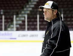 Sarnia Sting head coach Derian Hatcher watches practice at Progressive Auto Sales Arena in Sarnia, Ont., on Wednesday, Oct. 25, 2017. (Mark Malone/Postmedia Network)