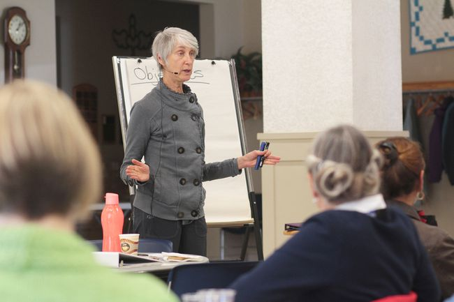 KEVIN RUSHWORTH HIGH RIVER TIMES/POSTMEDIA NETWORK. Speaker Deborah Sword presented Fight, Flight or Freeze, a session about conflict strategies, as part of the first Tate's Lemonade Promoting Healing and Wellness session in High River at the community's United Church.