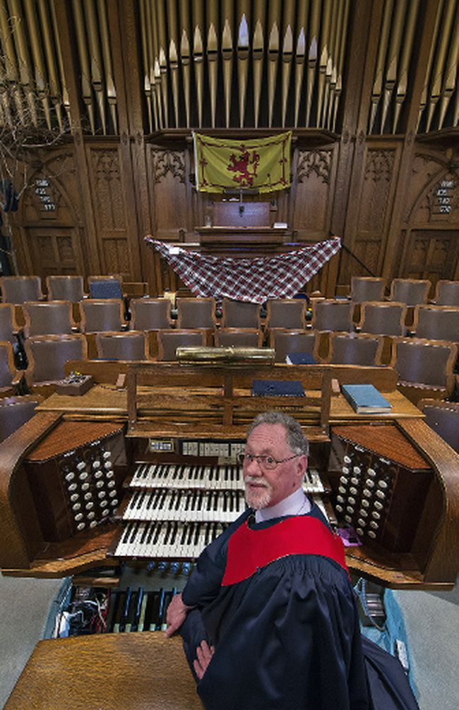 Ian Madge is celebrating 40 years as organist at St. Paul's Presbyterian Church in Simcoe. Brian Thompson/Postmedia News