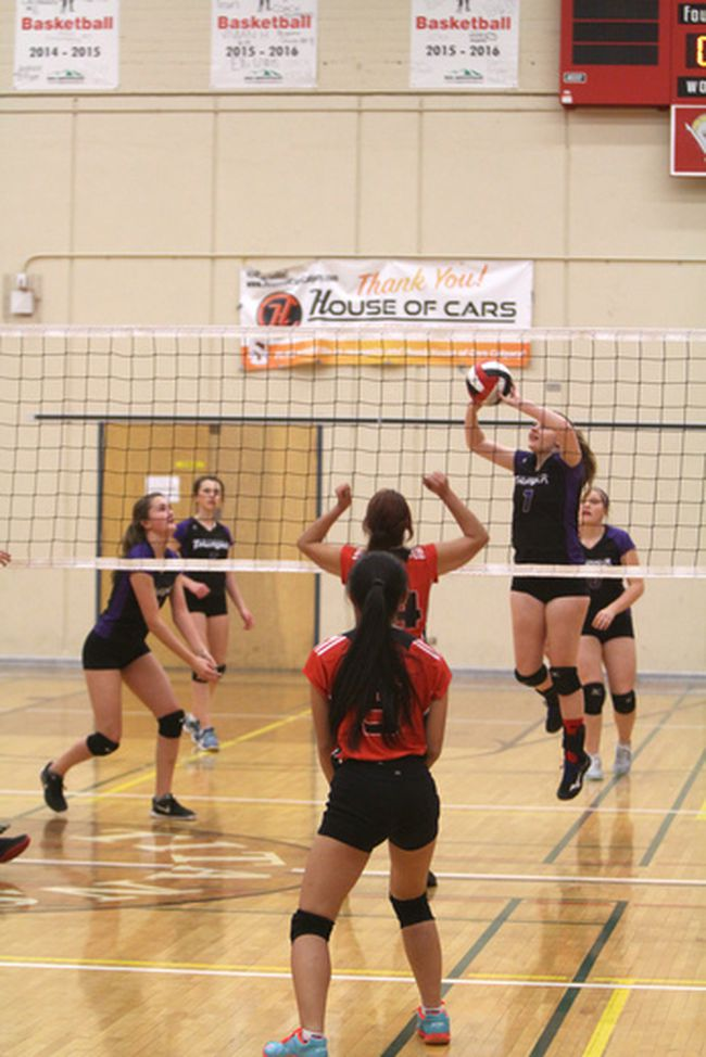 The St. Timothy Thunder senior girls volleyball team visited Forest Lawn High School to take on the Titans on Oct. 30. The Thunder won 3-0 and are now 6-2 on the season one game behind first-place James Fowler in the Calgary High School Sports League.