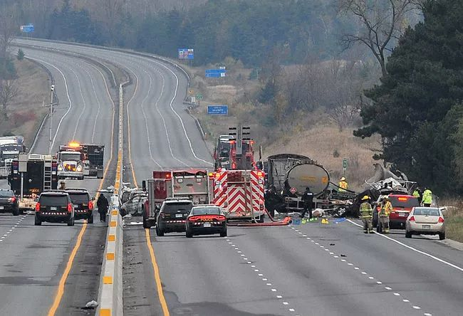 The fatal collision on Highway 400 north of Simcoe County Road 88 Nov.1, came on the heels of another, more minor multi-vehicle collision on the highway. MARK WANZEL file photo