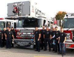 Several firefighters along with three fire trucks are sporting mustache for the Movember Prostate Cancer Campaign that has been launched by the Chatham-Kent Professional Firefighters Association for the month of November. Several firefighters had the trucks at Sobeys Chatham, Ont. store, a partner in the campaign, on Saturday November 4, 2017. The Real Canadian Superstore in Chatham and the Canadian Tire in Wallaceburg are also partners in the campaign to promote men's health. Ellwood Shreve/Chatham Daily News/Postmedia Network