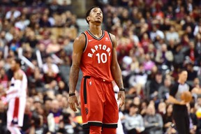 Toronto Raptors guard DeMar DeRozan (10) reacts after missing a shot during second half NBA basketball action against the Washington Wizards in Toronto on Sunday. (THE CANADIAN PRESS/Frank Gunn)