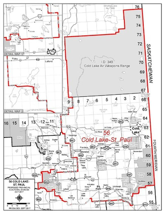 This map shows the proposed new provincial riding for St. Paul, Bonnyville and Cold Lake.
