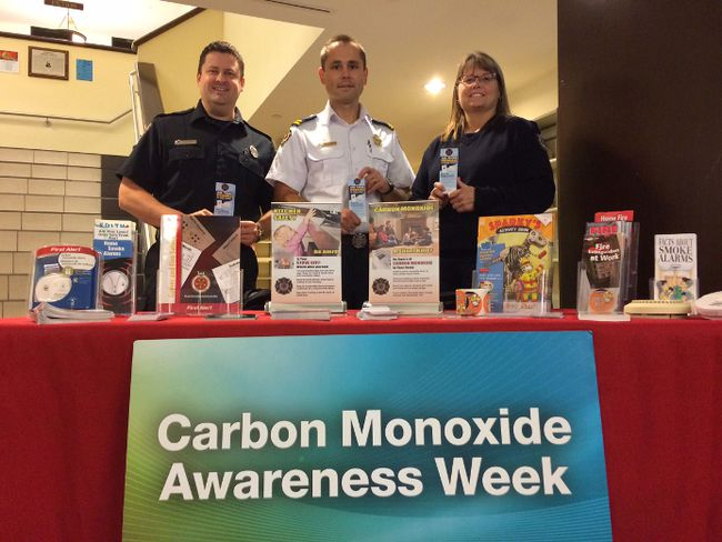 Members of the Woodstock Fire Department spent the week spreading awareness about the importance of carbon monoxide detectors. From left Brian Egan, Lukasz Kasprzyk and Lisa Woods. (HEATHER RIVERS, Sentinel-Review)