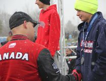 Canadian Armed Forces veteran and 2017 Invictus gold medallist Mike Trauner presented the silver medal to Jeanne-Lajoie's Rudy Saal who placed second in the midget men's four-kilometre individual race.