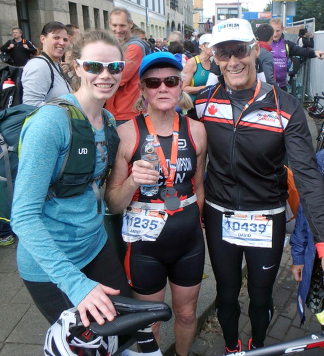 The Woodstock Triathlon Club had two athletes compete in Rotterdam, The Netherlands Sept. 16 to 17 at the ITU World Age Class championships. Janet Thompson, centre, and Dave Jenkin, right, had two top six finishes against athletes from across the world with Mary Thompson, left, supporting.