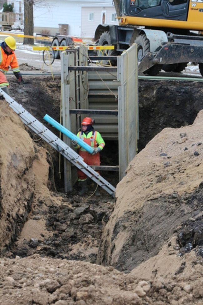 City crews had to dig in to connect sewer lines to the new lift station near the former Broadway School.