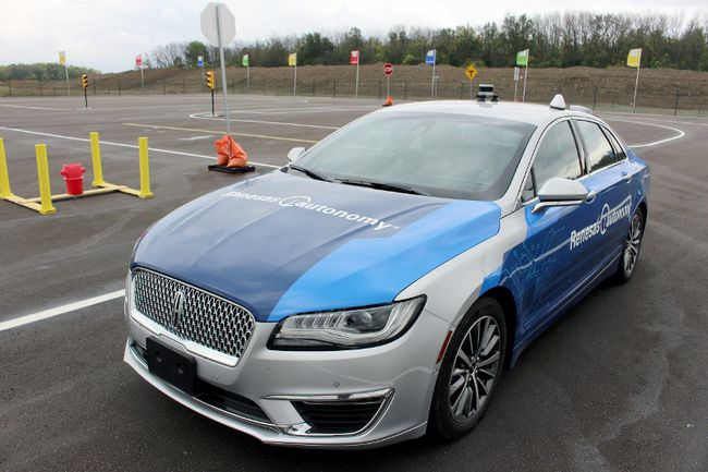 An autonomous vehicle is seen on the test track near Lorne Avenue and Romeo Street in Stratford. (Terry Bridge, Beacon Herald)