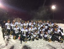 Canmore Wolverines celebrate a Big Sky conference championship on Friday, Nov. 3, 2017. The Wolverines defeated the Drumheller Titans 20-7. Supplied