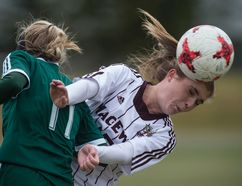 FILE PHOTO - The MacEwan Griffins' women's soccer team could not follow up on their upset in the Canada West soccer quarter-finals against the Golden Bears. The Griffins settled for fourth place.