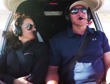 A screen grab from a promotional video that appeared on YouTube shows Halladay and his wife inside the cockpit.