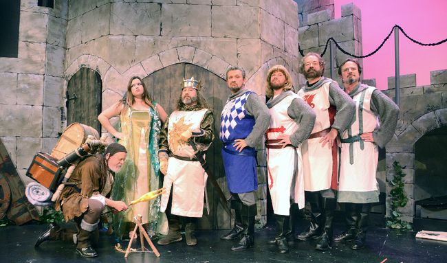 From left are Bill Murphy as Patsy, Lacey Mooney as the Lady of the Lake, Brodie McGruer as King Arthur, Ben Davidson as Sir Bedevere, Jamie Smith as Sir Galahad, John Beisel as Sir Lancelot and Rick Twining as Sir Robin on Monday, November 6, 2017 in Owen Sound, Ont. The Owen Sound Little Theatre production of Spamalot ran Nov. 9-11, 15-18 and 21-25, 2017. (Owen Sound Sun Times files)