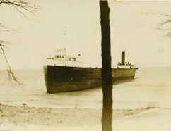 This historical photograph, provided by The Lambton Heritage Museum, shows the Hawgood stranded at Wees Beach, north of Sarnia, by the Great Storm of 1913. SUBMITTED PHOTO